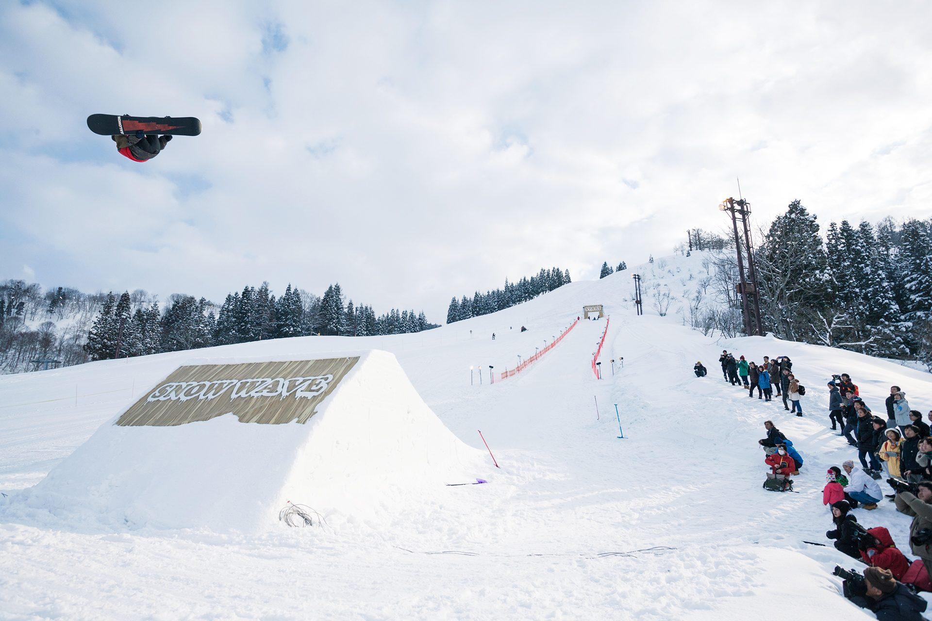 技に自信のスノーボーダーたちが集結! 大迫力の特大ワンメイクジャンプ大会!